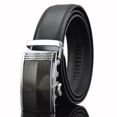 Automatic Buckle PU Leather Wide Belt