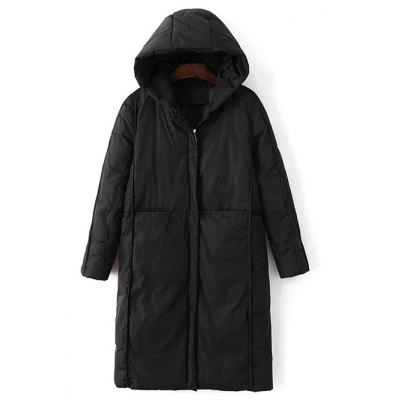 Hooded Long Puffer Coat with Pocket