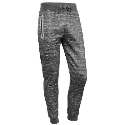Zipper Design Lace Up Beam Feet Cotton Blends Jogger Pants