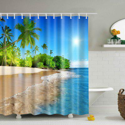 Buy BLUE L 3D Beach Polyester Waterproof Bath Shower Curtain for $19.82 in GearBest store