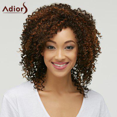 Trendy Brown Mixed Medium Capless Fluffy Curly Synthetic Wig For Women