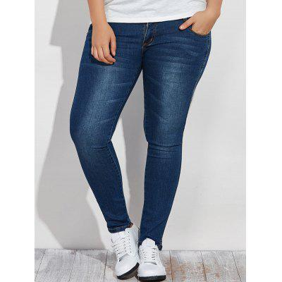 Plus Size High Waist Buttoned Jeans