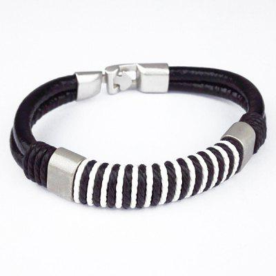 Woven Rope Faux Leather Bracelet For Men
