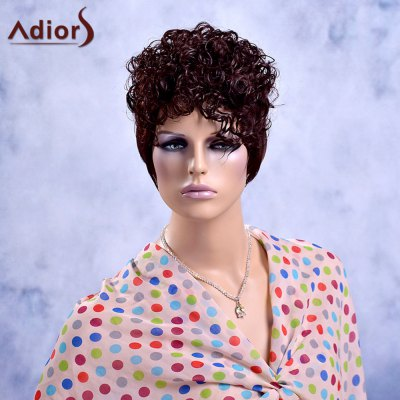Buy COLORMIX Adiors Short Fluffy Curly Full Bang Synthetic Wig for $13.24 in GearBest store