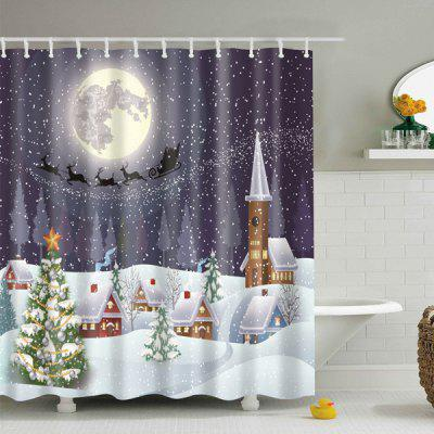 Snowing Night Fabric Wasserdichter Weihnachtsduschvorhang