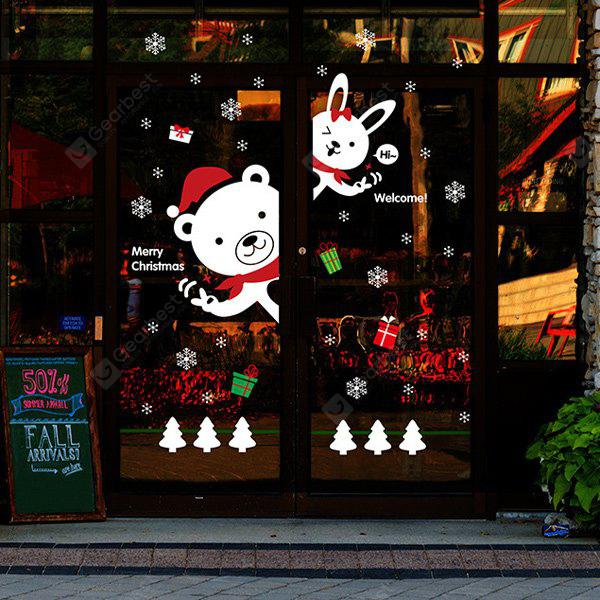 Cartoon diy bear rabbit window decor christmas wall for Christmas window decorations clearance