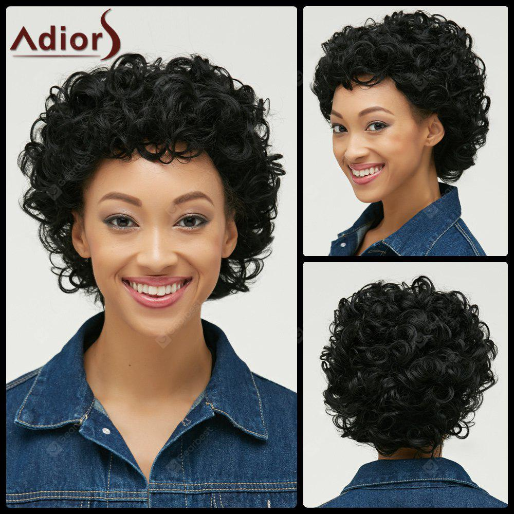 Court Pixie Cut Curly Bang Side perruque synthétique