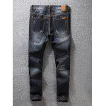 cheap Zip Fly Dark Tapered Denim Jeans