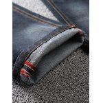 Zip Fly Dark Tapered Denim Jeans photo