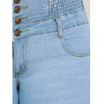 Plus Size High Waist Buttoned Jeans - CLOUDY