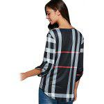 best V Neck 3/4 Sleeve Plaid Blouse