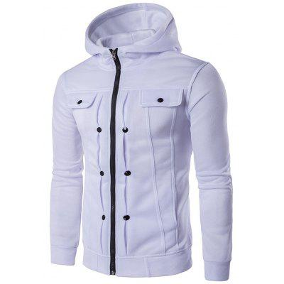 Buttoned Pleat Zip Up Hoodie