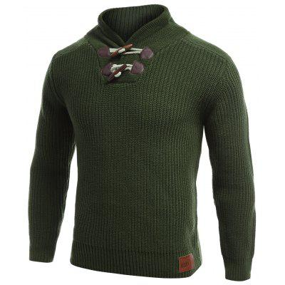 Flachgestrickte Pullover Toggle Sweater