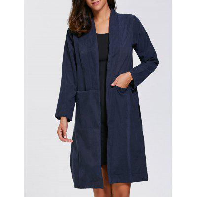 Slit Long Duster Coat With Pocket