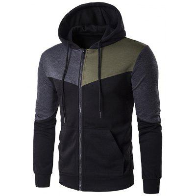 Buy BLACK Contrast Panel Pocket Zip Up Hoodie for $19.13 in GearBest store