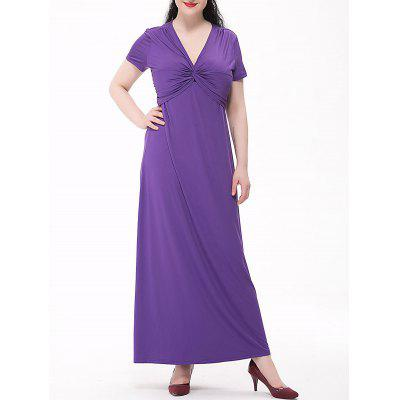 Plus Size Empire Waist Knotted Maxi Plain From Dress