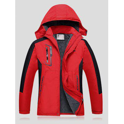 Plus Size Thicken Detachable Hooded Color Block Polyester Jacket