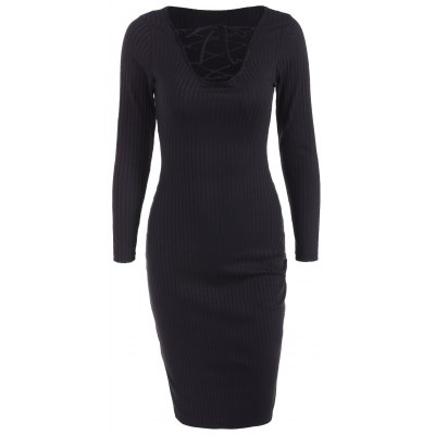 Buy BLACK Lace Up Ribbed Long Sleeve Dress for $17.38 in GearBest store