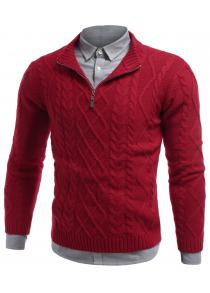 Stand Collar Cable Knit Half Zip Sweater