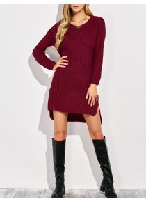 High-Low Slit Sweater Dress