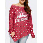 Plus Size Natale Pois Tee - ROSSO SCURO