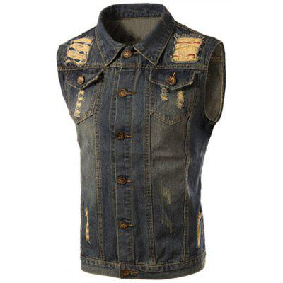 Turn-Down Collar Ripped Design Sleeveless Men's Denim Waistcoat