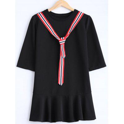 Buy BLACK Striped Belted Patchwork Drop Waist Dress for $24.18 in GearBest store