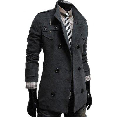 Stand Collar Double Breasted Zip Embellished Coat