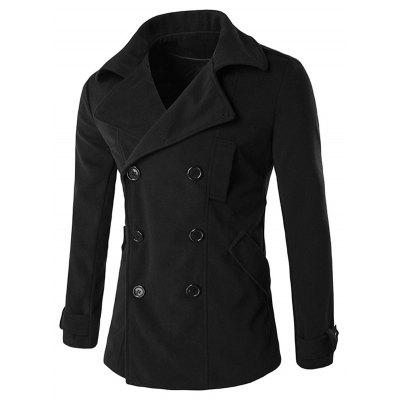 Turndown Collar Double Breasted Back Furcal Coat