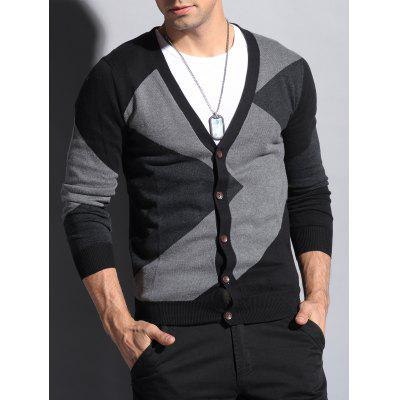 V Neck Color Matching Button Up Cardigan