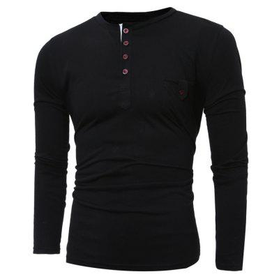 Button Design Long Sleeve Pocket Tee