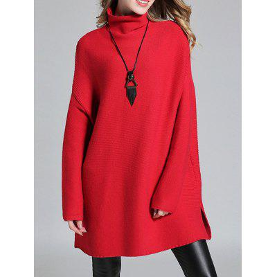 Slit Drop Shoulder High Neck Sweater