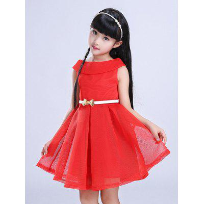 Girls Belt Mini Flare Dress