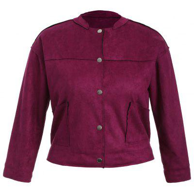 Plus Size Button Up Suede Jacket