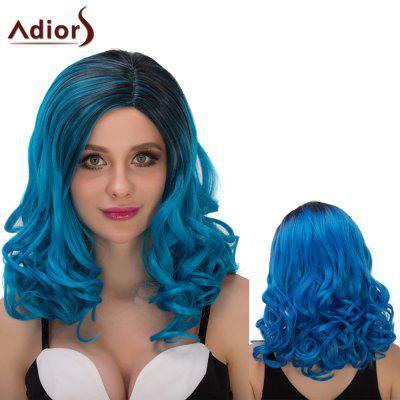 Adiors Medium Ombre Fluffy Wavy Oblique Parting Cosplay Synthetic Wig