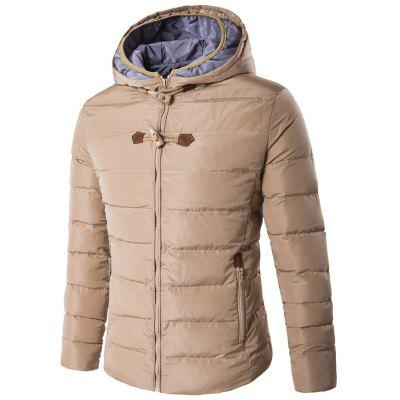 Horn Button Hooded Zip Up Elbow Patch Down Jacket