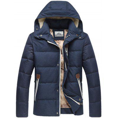 Zip Pocket Elbow Patch flocage Hooded Down Jacket