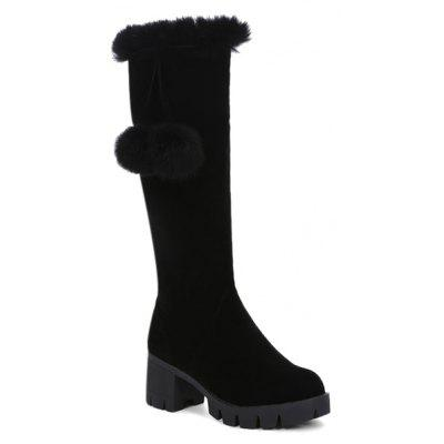 Faux Fur Pompon Zipper Boots