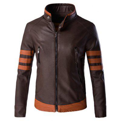 Plus Size Color Block Splicing Design Zip Up PU Leather Jacket