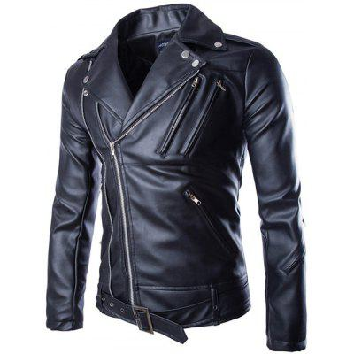 Turndown Collar Zippers Design PU Leather Jacket