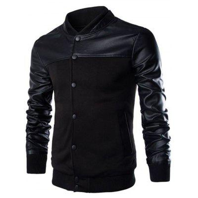 PU Leather Splicing Design Stand Collar Single Breasted Jacket