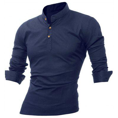Long Sleeve Mandarin Collar Button Tee