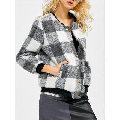 Plaid Button Up Bomber Jacket