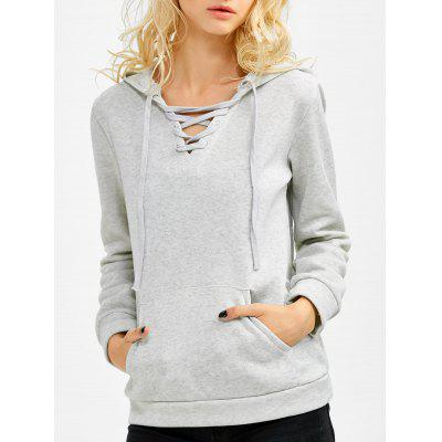 Kangaroo Pocket Pullover Lace Up Hoodie