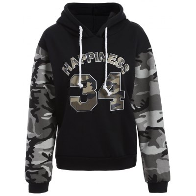 Letter Graphic Camo Hoodie