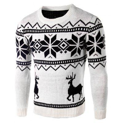 Deer and Snowflake Pattern Christmas Sweater