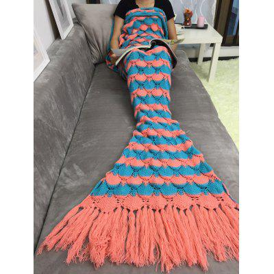 Fish Scales Tassel Design Crochet Mermaid Tail Blanket