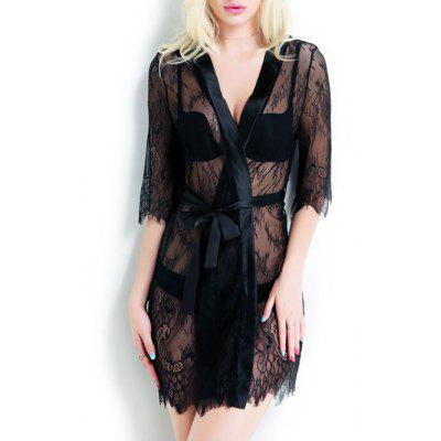 Sheer Tied Up Lace Wrap Sleepwear