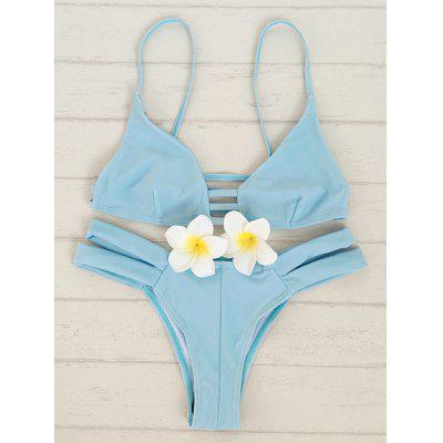 Fashion Cami Solid Color Bandage Bikini Set For Women