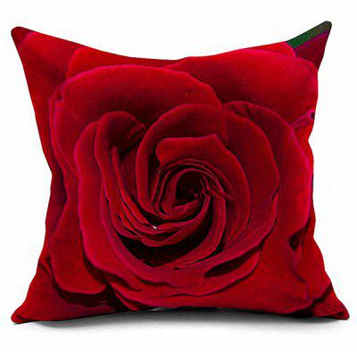 Linen Rose Printed Cushion Square Pillowcase